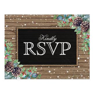 Rustic Response | Christmas Winter Wedding RSVP Postcard