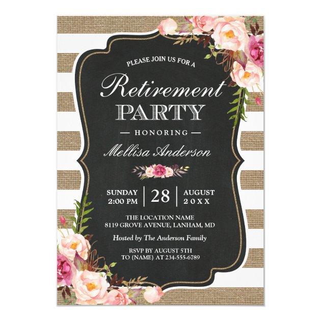 Rustic Retirement Party | Floral Burlap Stripes Card