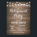"Rustic Retirement Party Invitation Card<br><div class=""desc"">Rustic Retirement Party Invitation Card with Wood Background String Lights. For further customization,  please click the &quot;Customize it&quot; button and use our design tool to modify this template.</div>"