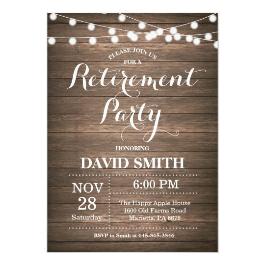 Rustic Retirement Party Invitation Card  ZazzleCom