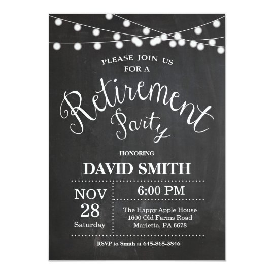 Rustic Retirement Party Invitation Card Chalkboard
