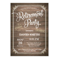Rustic Retirement Party Invitation Card Wood