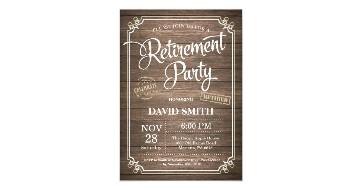 Rustic Retirement Party Invitation Card Wood Zazzle Com