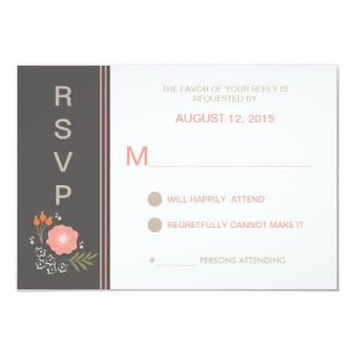 "Rustic Retro Floral RSVP 3.5"" X 5"" Invitation Card"