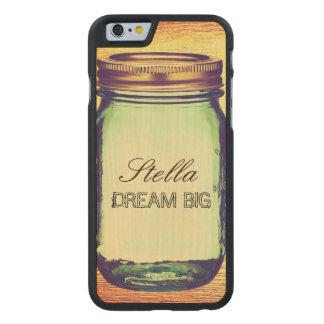 Rustic Retro Mason Jar with Custom Text Carved® Maple iPhone 6 Slim Case