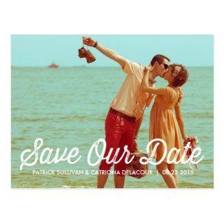 Rustic Retro Typography Save the Date Postcard