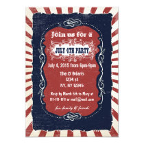 Rustic Retro Vintage 4th of july party invitations