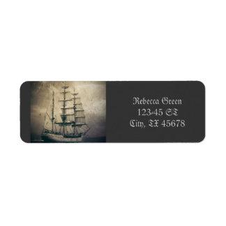 rustic retro vintage sail boat ocean waves sailor label