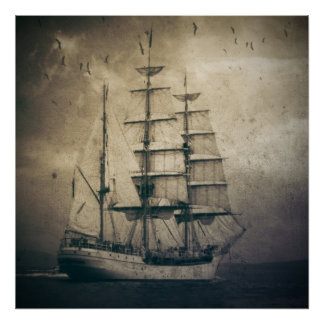 rustic retro vintage sail boat ocean waves sailor poster