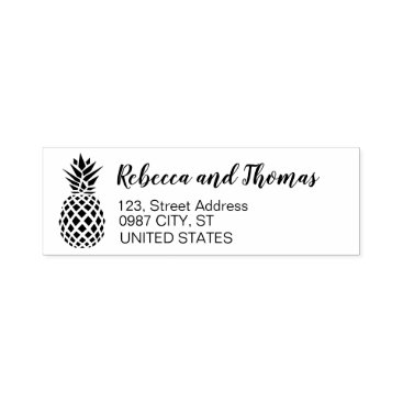 Valentines Themed Rustic return address self-inking pineapple stamp