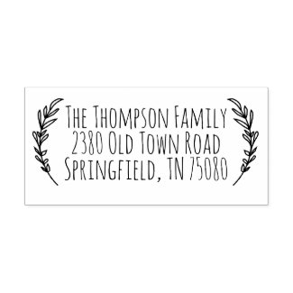 Rustic Return Address Self Inking Stamp Sprig