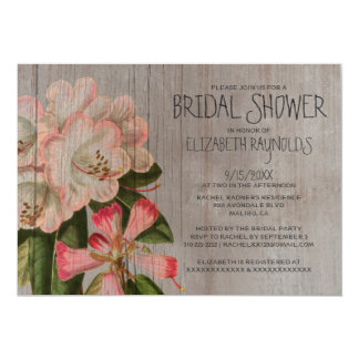 Rustic Rhododendron Bridal Shower Invitations