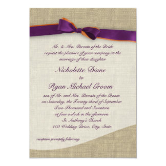 Rustic Ribbon and Burlap Orange and Purple Wedding Card
