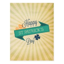 Rustic ribbon banner St Patrick's day postcard