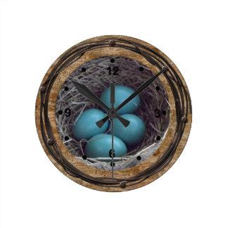 Rustic Robin Eggs Nest Clock