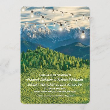 Rustic Rocky Mountain Creek Twinkle Lights Wedding Invitation