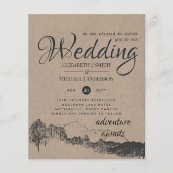 Rustic Rocky Mountains Wedding Invitations Budget