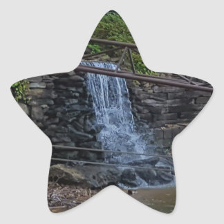 Rustic Rocky Waterfall On the Shoreline of Lake Star Sticker