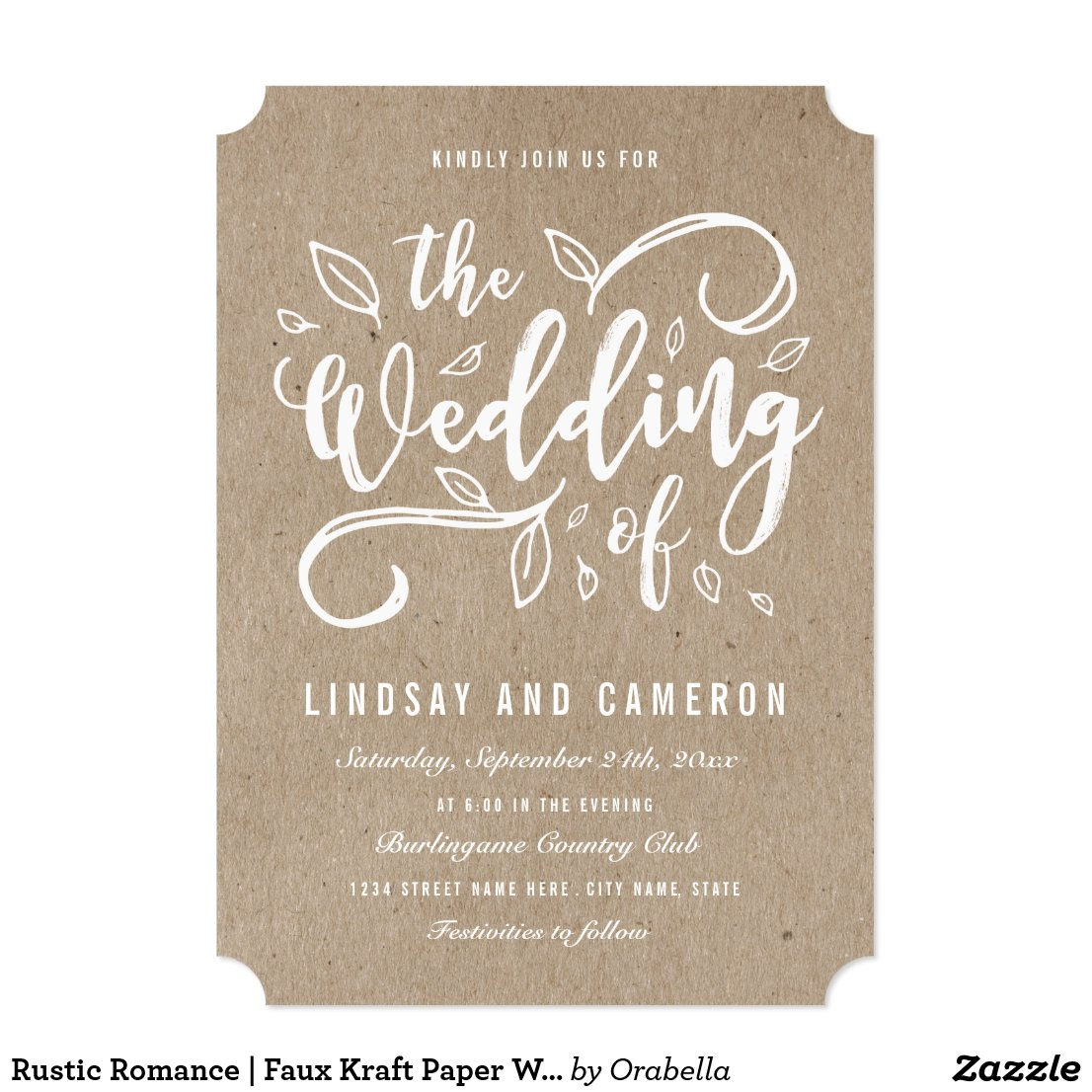 Rustic Kraft Paper Wedding Invitations