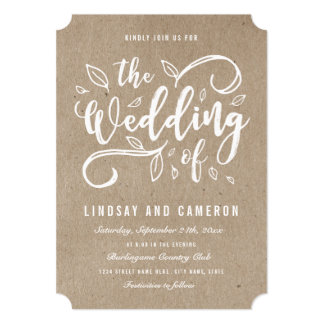Beautiful Rustic Romance   Faux Kraft Paper Wedding Invite