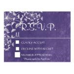 Rustic Romance Purple RSVP Postcard