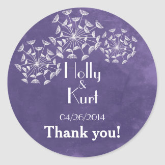 Rustic Romance Purple Wedding Thank You Stickers