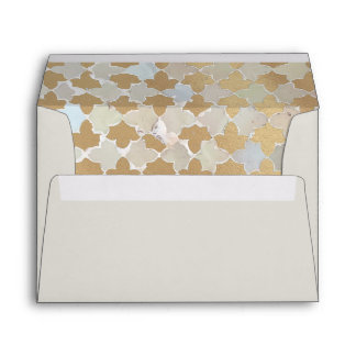 Rustic Romance Wedding | Faux Gold Foil Mosaic Envelope