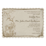Rustic Romantic Brown Paper Lovebirds Wedding Custom Invitation