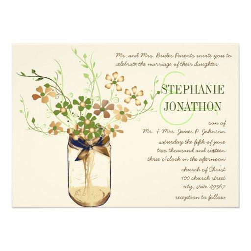 Rustic Romantic Copper Olive Mason Jar Wedding Invitations