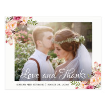 Rustic Romantic Floral Wedding Photo Thank You Postcard