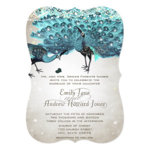 Rustic Romantic Mason Jar Teal Turquoise Peacock 5x7 Paper Invitation Card