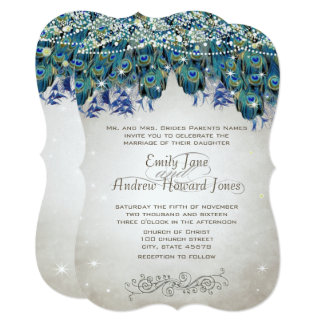 Rustic Romantic Peacock Teal Turquoise Peacock Card