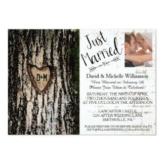 "Rustic Romantic Tree Post Wedding Photo Invite 5"" X 7"" Invitation Card"