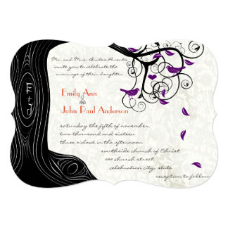 Rustic Romantic Tree Purple Birds Wedding Card