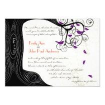 "Rustic Romantic Tree Purple Birds Wedding 5"" X 7"" Invitation Card"