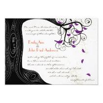Rustic Romantic Tree Purple Birds Wedding 5x7 Paper Invitation Card