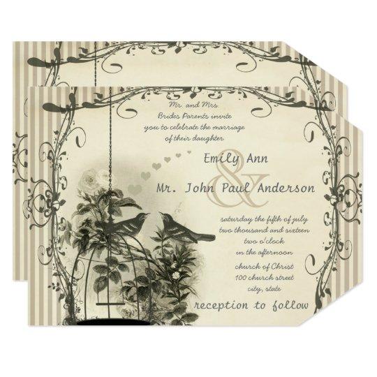 Wedding Invitations Birdcage: Rustic Romantic Vintage Birdcage Love Bird Wedding