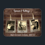 "Rustic, Romantic &amp; Vintage &quot;Save the Date&quot; Wedding Magnet<br><div class=""desc"">A romantic &quot;Save the Date&quot; wedding magnet.  A rustic wooden fence with a country clothes line hanging from it.  Add three vertical photos (they will appear with a vintage finish) names and wedding date.   Congratulations!</div>"