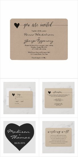 Rustic romantic wedding suite invitation templates