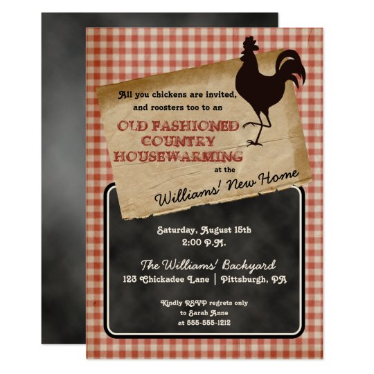 Rustic Rooster Backyard Cookout Housewarming Invitation