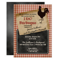 Rustic Rooster Backyard I DO BBQ Engagement Party Invitation