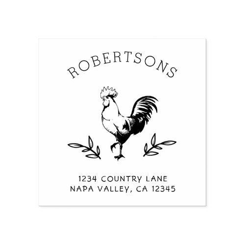 Rustic Rooster  Family Name Return Address Rubber Stamp