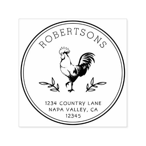 Rustic Rooster  Family Name Return Address Self_inking Stamp