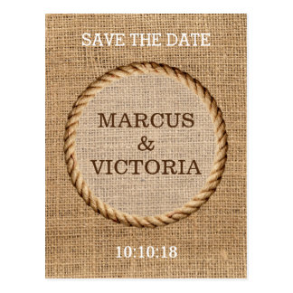 Rustic Rope Country Wedding Save the Date Postcard