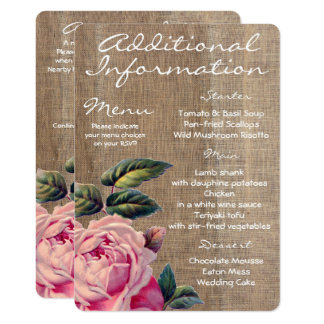 Rustic Rose Additional Information Card
