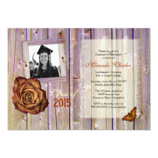 """Rustic Rose and Butterfly Girl Grad Photo Invite 5"""" X 7"""" Invitation Card"""