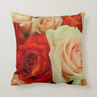 Rustic Rose Bouquet-Square Throw Pillow