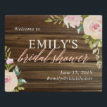 "Rustic Rose Bridal Shower Welcome Sign<br><div class=""desc"">Personalized bridal shower welcome sign featuring pink watercolor flowers and a faux wood texture background</div>"