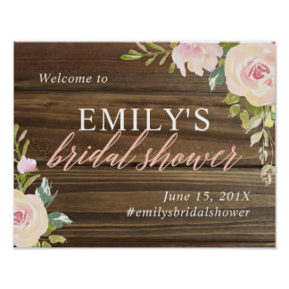 Rustic Rose Bridal Shower Welcome Sign