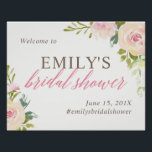 "Rustic Rose Bridal Shower Welcome Sign White<br><div class=""desc"">Personalized bridal shower welcome sign featuring pink watercolor flowers.</div>"